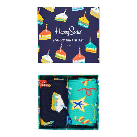Happy Socks Multi 2 Pack Happy Birthday Gift Box