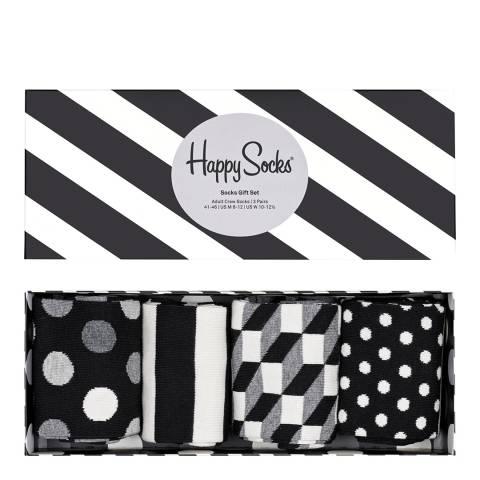 Happy Socks Black/White 4 Pack Gift Box