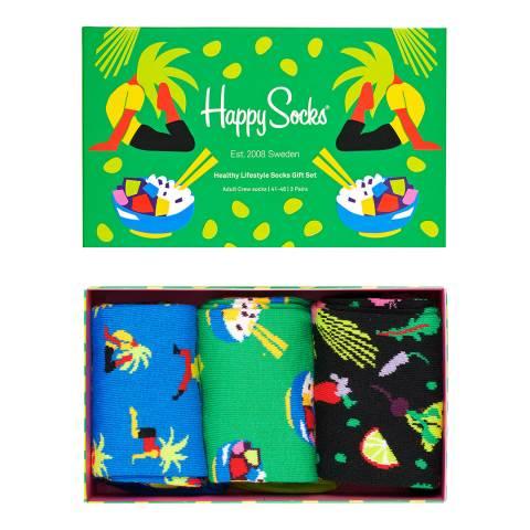 Happy Socks Multi 3 Pack Healthy Lifestyle Gift Box