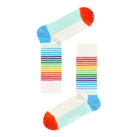 Happy Socks White/Multi 2 Pack Cotton Socks