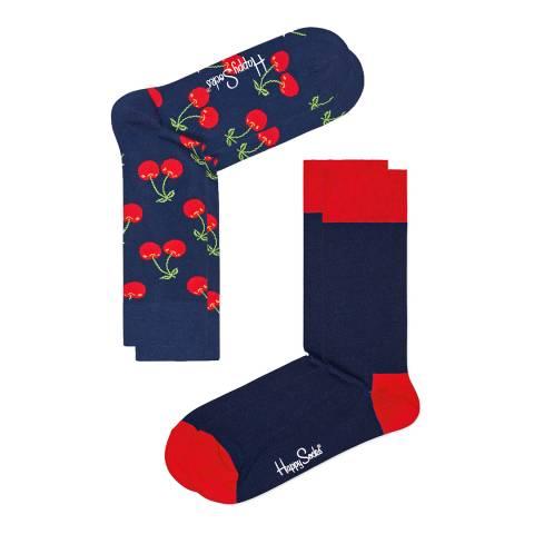 Happy Socks Navy/Red 2 Pack Cotton Socks