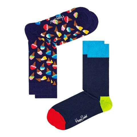 Happy Socks Navy/Multi 2 Pack Cotton Socks