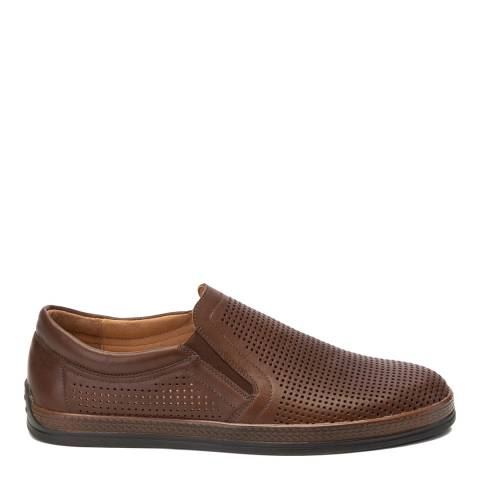 Belwest Brown Leather Slip On Casual Shoes