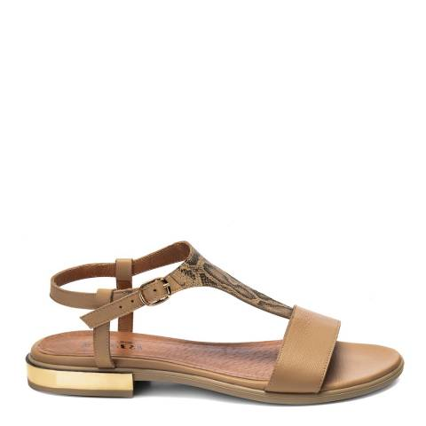 Belwest Beige and Brown Snake Effect Leather Sandal