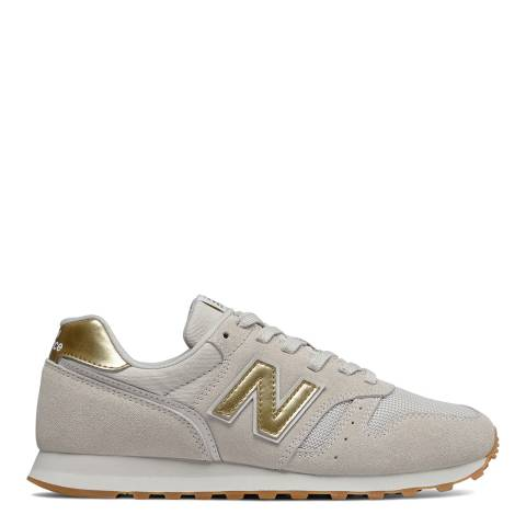 New Balance Beige and Gold 574 Trainers