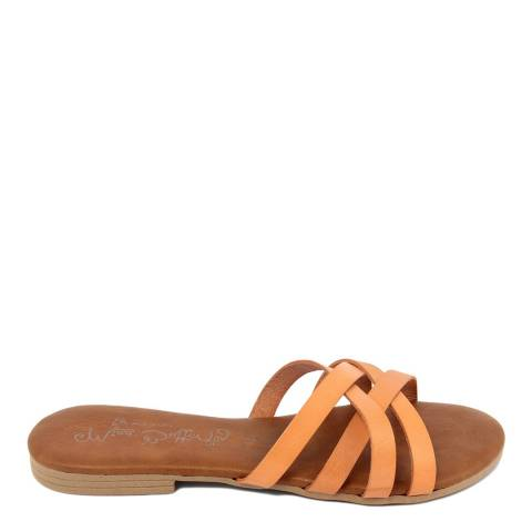 Miss Butterfly Orange Leather Crossed Band Sandal