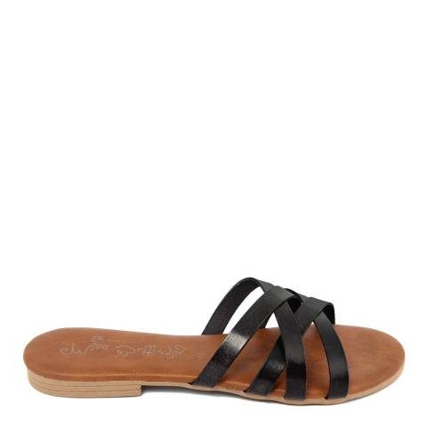 Miss Butterfly Black Leather Crossed Band Sandal