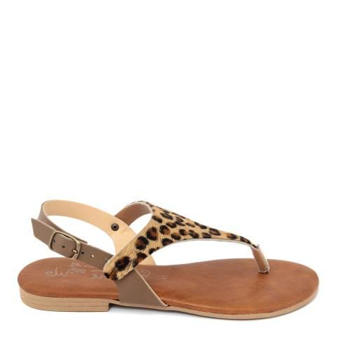 Miss Butterfly Leopard Print Flip Flop Sandal