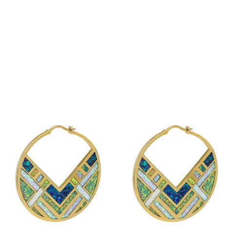 nOir Gold Opal Blue Luna Statement Earrings