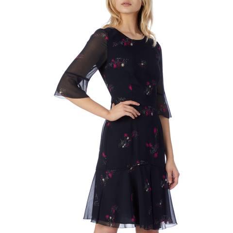 L K Bennett Navy Rosetta Dress