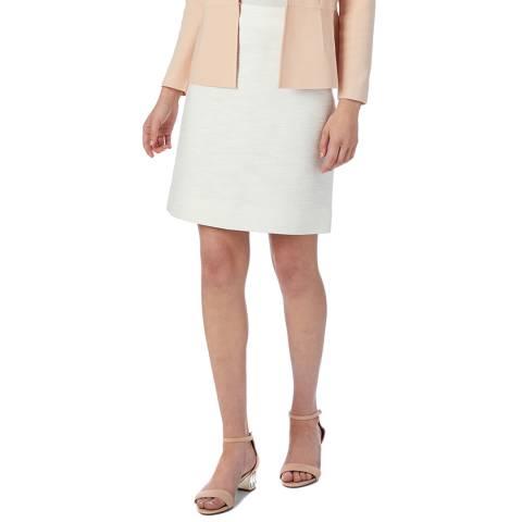 L K Bennett White Macey Cotton Skirt