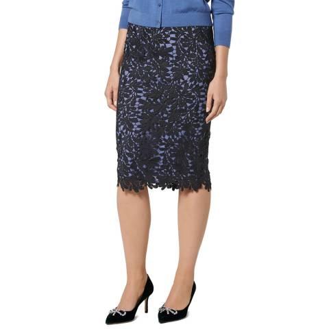 L K Bennett Blue/Black Leigh Lace Skirt