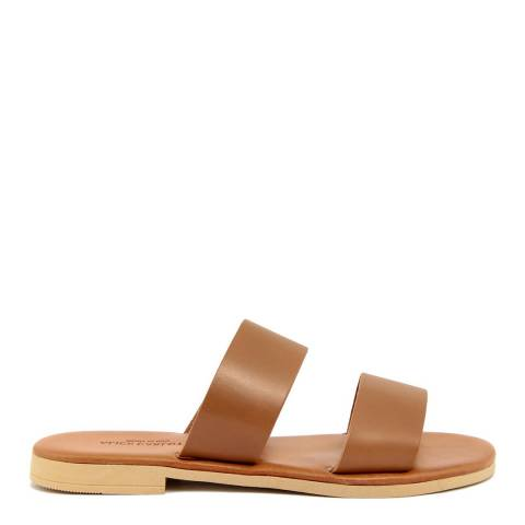 Alice Carlotti Light Brown Vintage Effect Leather Double Band Sandal