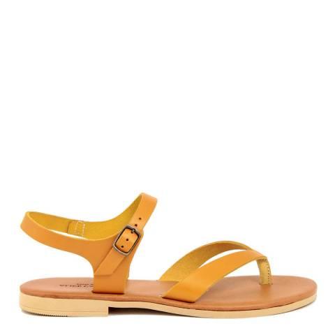 Alice Carlotti Yellow Leather Flip Flop Flat Sandal