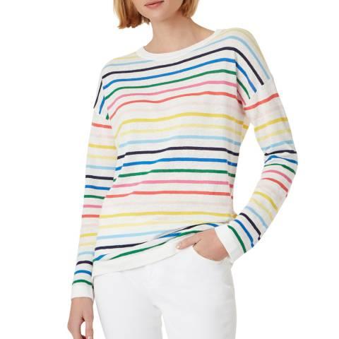 Hobbs London Multi Rainbow Stripe Cotton Blend Jumper