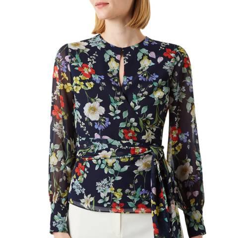 Hobbs London Floral Meadow Tie Waist Blouse