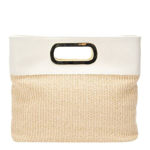 Massimo Castelli Beige Raffia Top Handle Bag