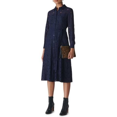 WHISTLES Navy Oliviana Lace Midi Dress