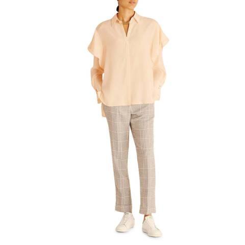 Amanda Wakeley Light Pink Peplum Sleeve Silk Shirt
