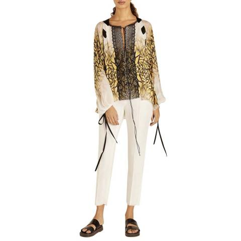 Amanda Wakeley White Multi Moth Print And Lace Top