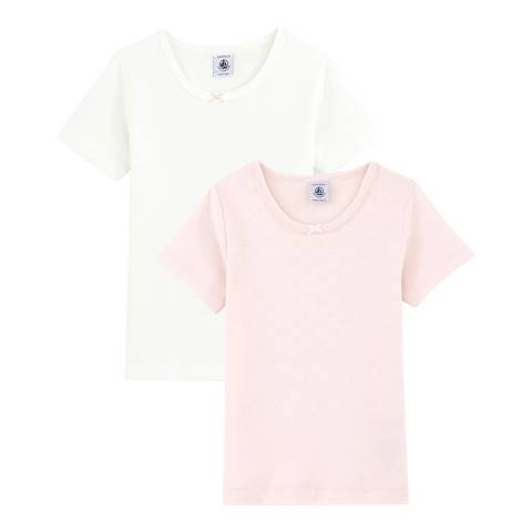 Petit Bateau Kid's Girl's White/Pink Pastel Short-Sleeved Organic Cotton T-Shirt Pack