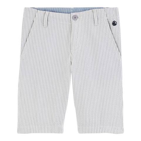 Petit Bateau Kid's Boy's Grey/White Seersucker Bermuda Shorts