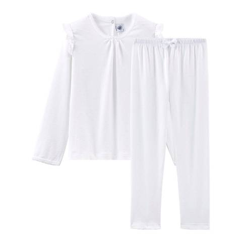 Petit Bateau Kid's Girl's White Fine Cotton Pyjamas