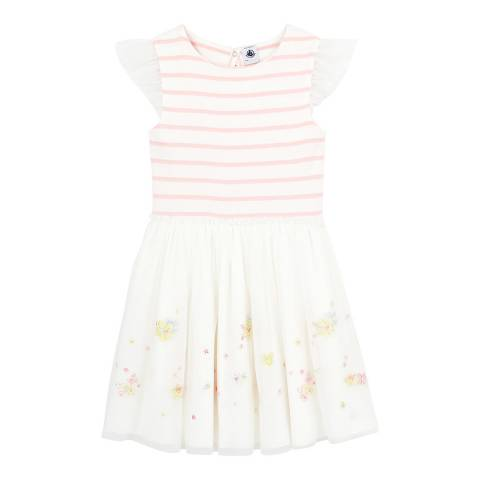 Petit Bateau Kid's Girl's White Tulle And Cotton Formal Dress