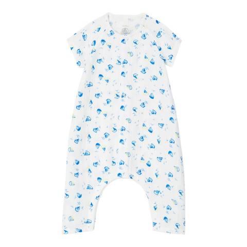 Petit Bateau Unisex White/Blue Boat Pattern Organic Cotton Jumpsuit