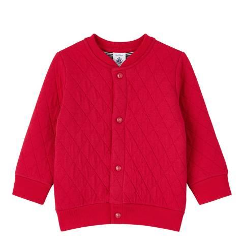 Petit Bateau Unisex Red Tube Knit Quilted Jacket