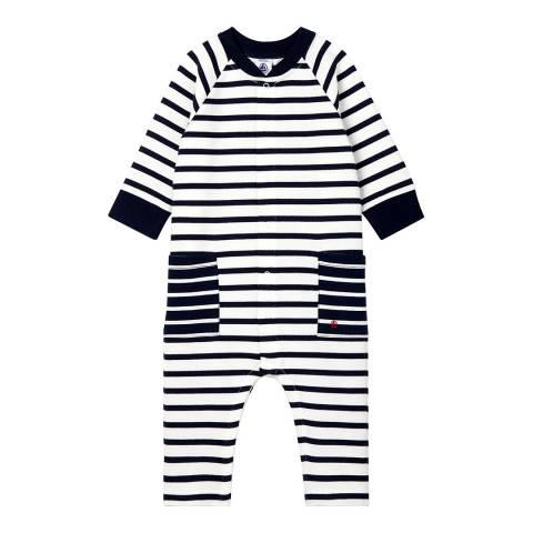 Petit Bateau Unisex White/Navy Stripe Long Jersey Jumpsuit
