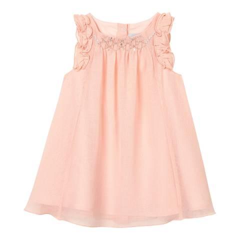 Petit Bateau Baby Girl's Pink Short-Sleeved Embellished Detail Crepe Dress
