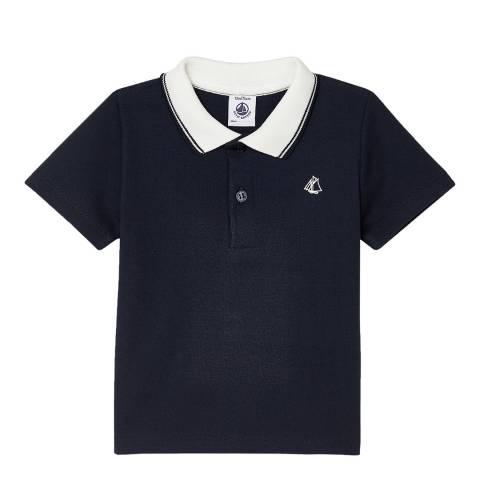 Petit Bateau Baby Boy's Navy Short-Sleeved Ribbed Polo Shirt