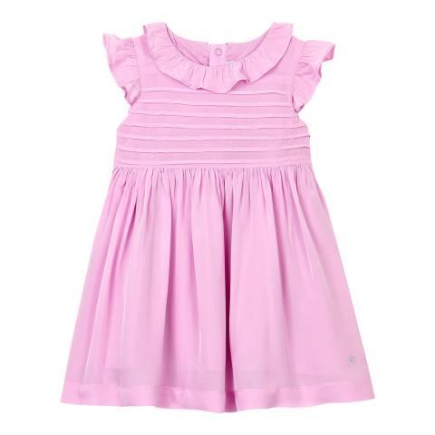 Petit Bateau Baby Girl's Pink Short-Sleeved Crepe Dress