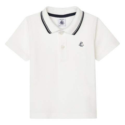 Petit Bateau Baby Boy's White Short-Sleeved Ribbed Polo Shirt
