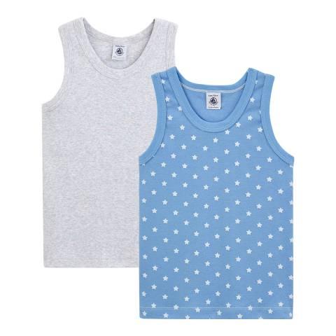 Petit Bateau Kid's Boy's Grey/Blue Vest Pack
