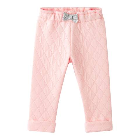 Petit Bateau Baby Girl's Pink Quilted Tube-Knit Trousers