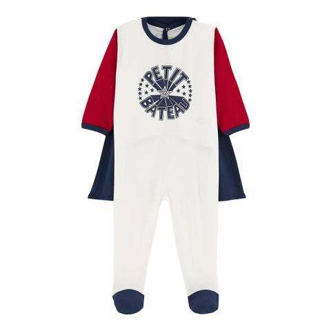 Petit Bateau Unisex White/Red/Navy Fancy Dress Sleepsuit
