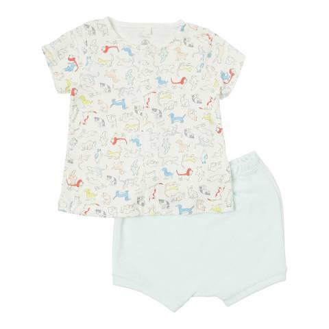 Petit Bateau Unisex White/Blue Puppies T-Shirt/Shorts Pack