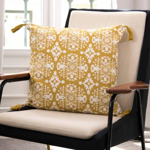 Febronie Cashmere Mustard/Ecru Cushion cover, 50x50cm