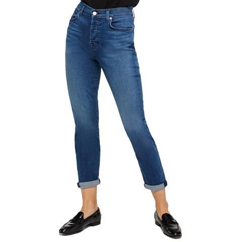 7 For All Mankind Blue Josefina Boyfriend Stretch Jeans