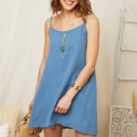 Rodier Indigo Linen Mini Dress