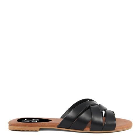 Firenze Studio Black Leather Flat Sandals