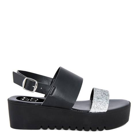 Firenze Studio Black Leather And Textile Wedge Sandals