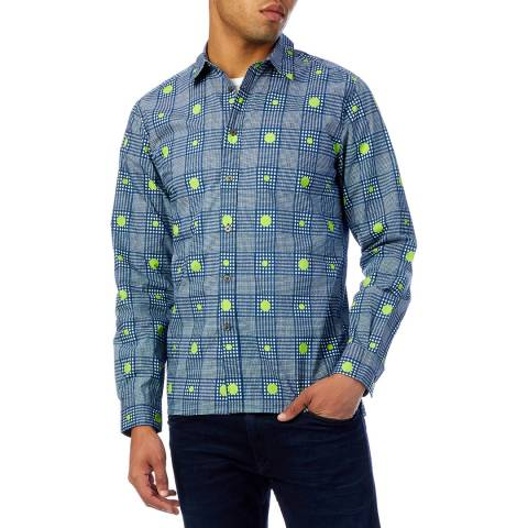 Richard James Navy Spot Cotton Shirt