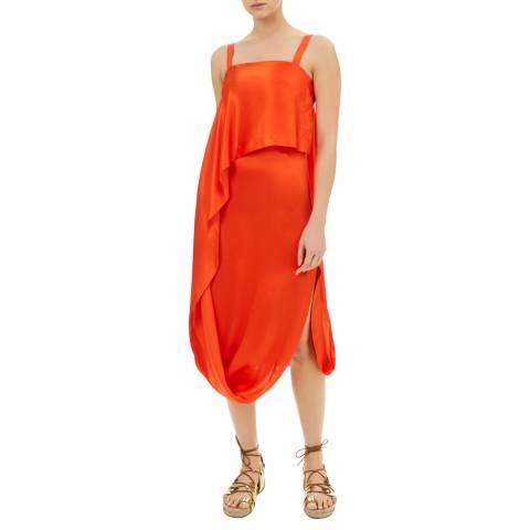 Temperley London Orange Darling Draped Silk Blend Dress