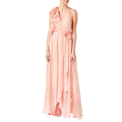 Temperley London Multi Pink Stripe Linden V Neck Silk Dress