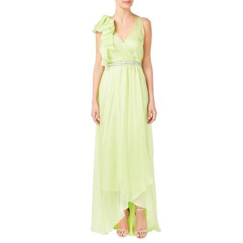 Temperley London Lime Lullaby V Neck Silk Dress