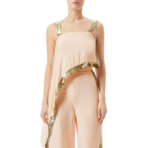 Temperley London Pale Pink Sycamore Silk Blend Draped Top