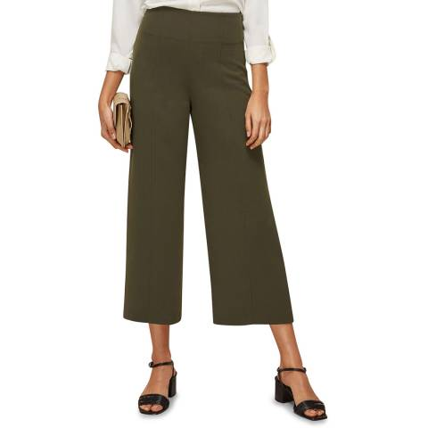 WHISTLES Khaki Flat Front Cropped Trousers